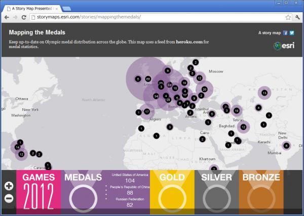 ロンドン オリンピックのメダル獲得マップ