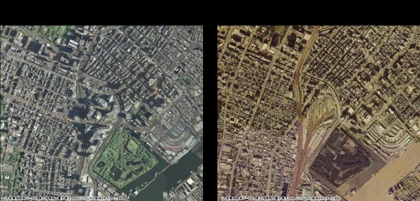 各年代のオルソ画像を利用して、土地利用の変化を比較