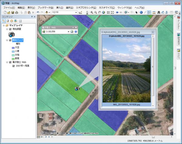 独自に作成したマップ(農地マップと現地調査結果)と重ね合わせ