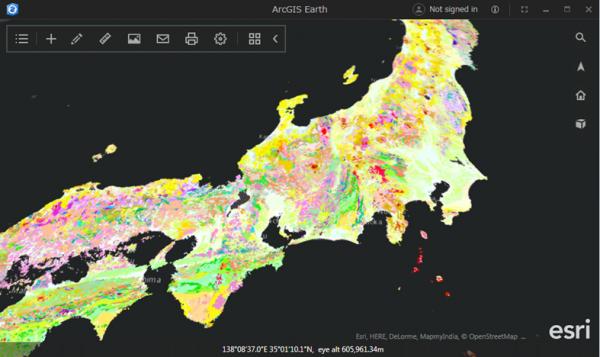 ArcGIS Earth に表示した産業総合技術研究所の 20 万分の 1 日本シームレス地質図 WMS