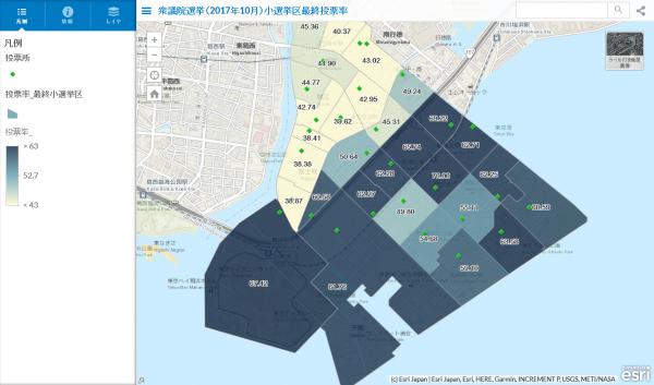 小選挙区の投票区別投票率分布図