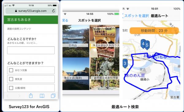 現地調査アプリ、最適ルート検索アプリ