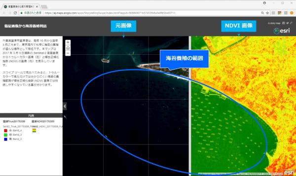 衛星画像を使った海苔養殖場の判読
