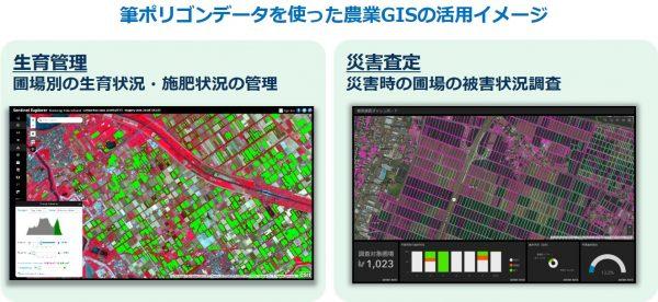 筆ポリゴンデータを使った農業GISの活用イメージ