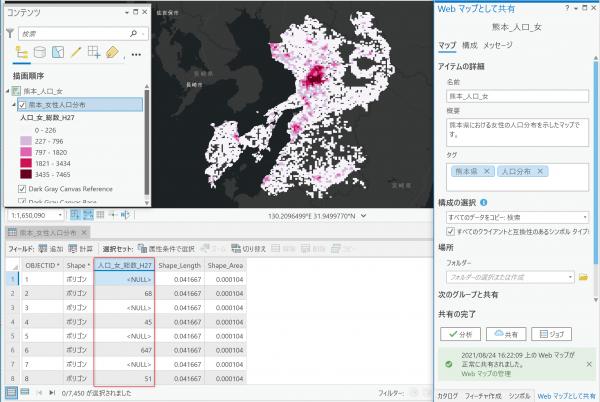 熊本県における女性の人口分布
